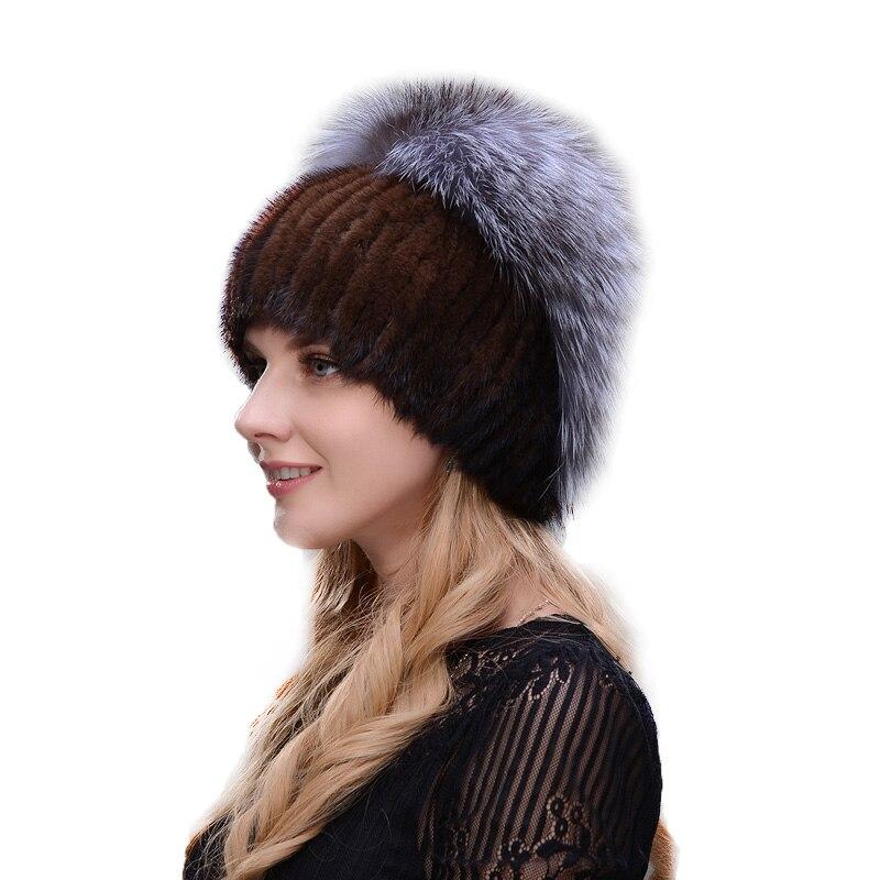 Новинка 2017 норковая шапка ручной работы сшивание текстуры зимние женские лыжи шапка с меховым капюшоном шляпа серебро меха лисы вязаная те...