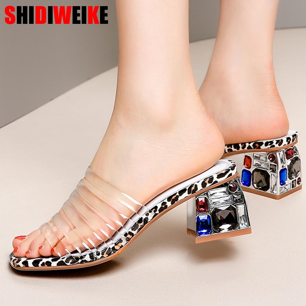 Grande taille 34-42 nouvelles femmes PVC cristal coloré talon transparent femmes doux clair perspex talons d'été diapositives g185
