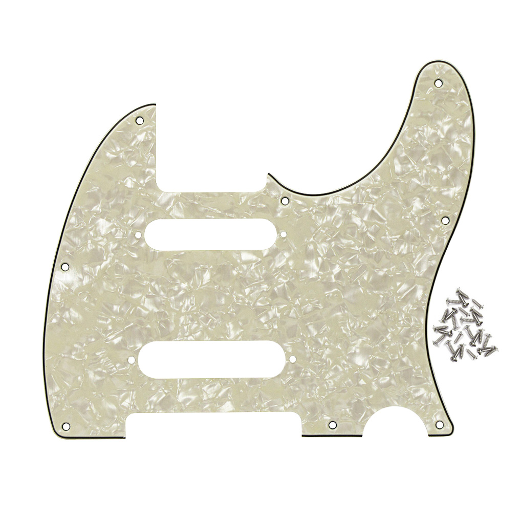 4ply tele pickguard guitar pickguard 8 holes for nashville tele style aged pearl in guitar. Black Bedroom Furniture Sets. Home Design Ideas