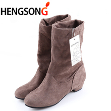 3010af5acc40 Winter Women Winter Boots Suede Flocking Mid-Calf Snow Boots Female Warm  Fur Plush Botas Mujer Ladies Martins Sock Boots 401894