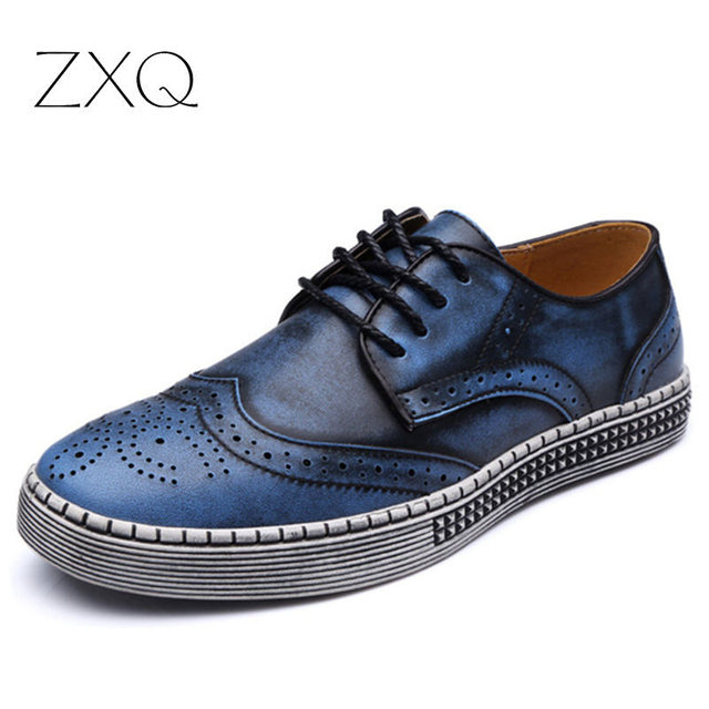 New Brand British Style Genuine Leather Men Shoes Retro Brogues Leather Oxford Shoes For Men Casual Dress Shoes