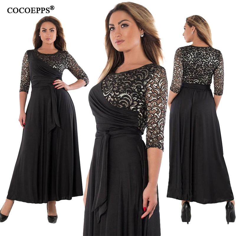 5XL 6XL 2019 New Women Long Dress Maxi Autumn Winter Big Sizes Lace Patchwork Dress Plus Size Sexy Party Dresses Black Clothing