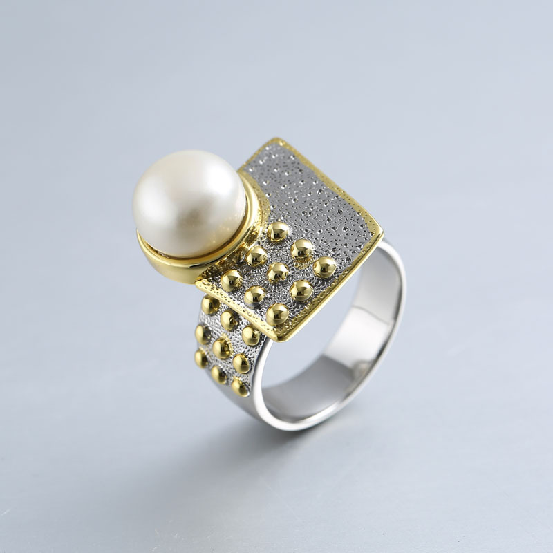 925 sterling silver 10mm pearl rings gold handmade design geometric faceplate natural Baroque pearl rings for women jewelry blue handmade geometric pattern embroidery finger rings