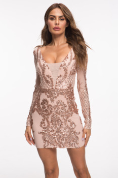 Evnora babe 2019 new style sequin long sleeve short dress party dress 2