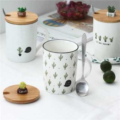 Criativo cerâmico copo caneca copo escritório cactus amantes da moda copo de café copos com tampa colher