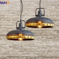 IWHD American Style Retro Vintage Lid Pendant Lamp Loft Industrial Light Fixtures Edison Bulb Lamp For Bedroom Home Lighting