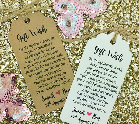 Custom Wishing Well Poem Wedding Thank You Gift Tags