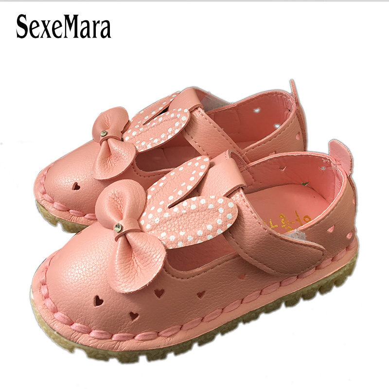 Cute Girls Rabbit Shoes For Kids Summer Hollow Leather Shoes Dot Crystal Bow-Knot Footwear For Newborns A02151 Children Footwear