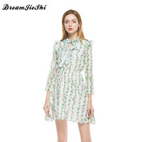 Dreamjieshi Summer Women Chiffon Dress Cute A Line Print Three Quarter Sleeve Draped Above Knee Mini