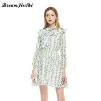 Dreamjieshi Summer Women Chiffon Dress Cute A Line Print Three Quarter Sleeve Draped Above Knee Mini