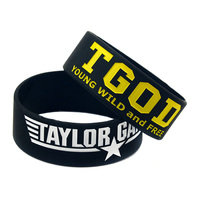 25PCS Lot Taylor Gang Silicone Wristband Debossed Logo And Ink Filled Colour Popular For Hip Hop