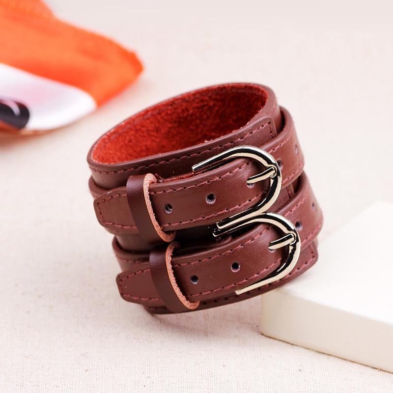 ZORCVENS Fashion Double Belt Leather Wrist Friendship Big Wide Bracelet for Men Buckle Vintage Punk Jewelry