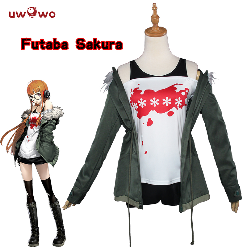 Ya-cos Persona 5 Futaba Sakura Cosplay Costume A.F.K Logo Casual Coat Jacket Shirt Tee Suit Dress up