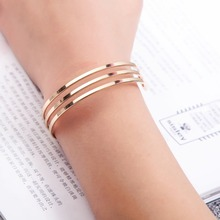 Simple Hollow Circles Rose Gold Silver Cuff Bangle for Women Personalized Geometric Bracelet Bangle 2019 Fashion Jewelry Gifts sitaicery 3pcs set cuff bracelet bangle for women rose gold silver engraved love bracelets wife women personalized gifts jewelry