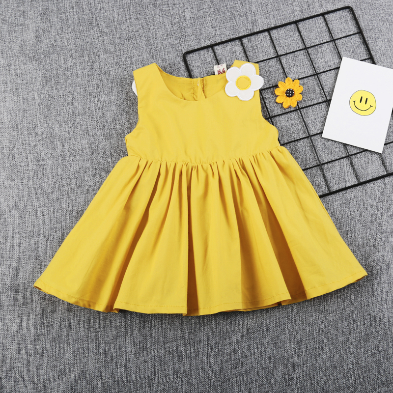 1-4 Years Old Baby Flowers Butterfly Solid Color Round Neck Sleeveless Wings Dress Kawaii Fashion Casual Princess Dress chic women s round neck sleeveless demin jumpsuit