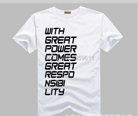 t shirt Spiderman with great power comes great respo nsibi lity Short Sleeved t shirt shirt Spiderman Tee Shirt