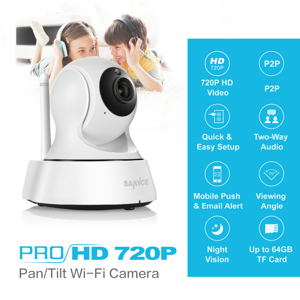 SANNCE 720P HD Security Camera 1.0MP Wireless IP Camera P2P Night Vision CCTV Camera support Two Way Audio Baby Monitor 1mp wireless p2p double antenna cctv security camera hd 720p wifi ip camera baby monitor pan tilt two way audio ir night vision
