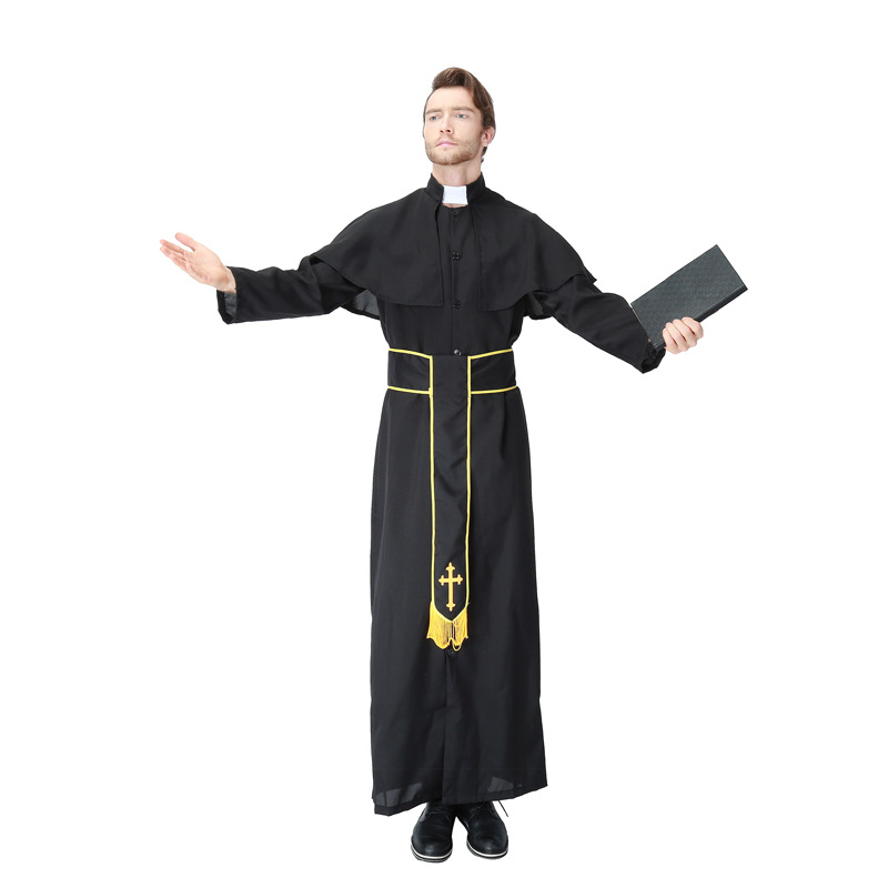 Halloween cosply costume priest clergy nun sister Christ role acting playing cloth religion suits belt dress shawl