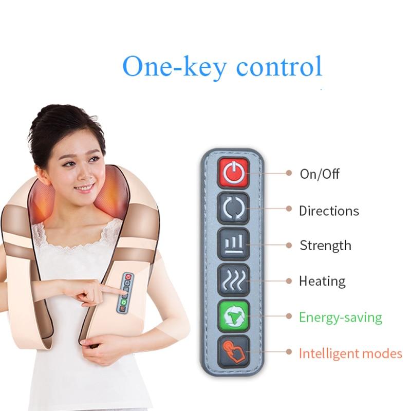 JinKaiRui U Shape Electrical Shiatsu Back Neck Shoulder Massager Body Spa Infrared 4D kneading Massagem Car Home Dual Use Masaje цена 2017
