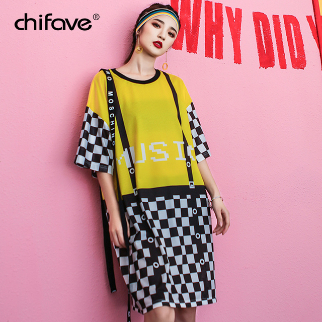 chifave New Summer Dress for women 2018 BF Style Patchwork Ladies ...