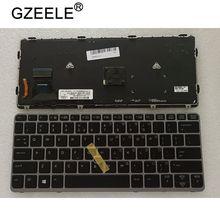 QH yeni ABD dizüstü klavye HP EliteBook 820 G1 820 G2 720 G1 720 G2 725 G2 arka ışık noktası arkadan aydınlatmalı gümüş çerçeve
