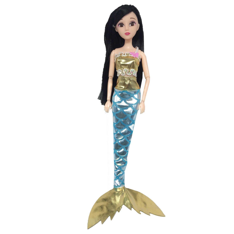 Besegad 4 комплекта мини-куколка с блестками костюм русалки платье с хвостом русалки бюстгальтер топы рыбий хвост аксессуары для юбки Барби-игрушка
