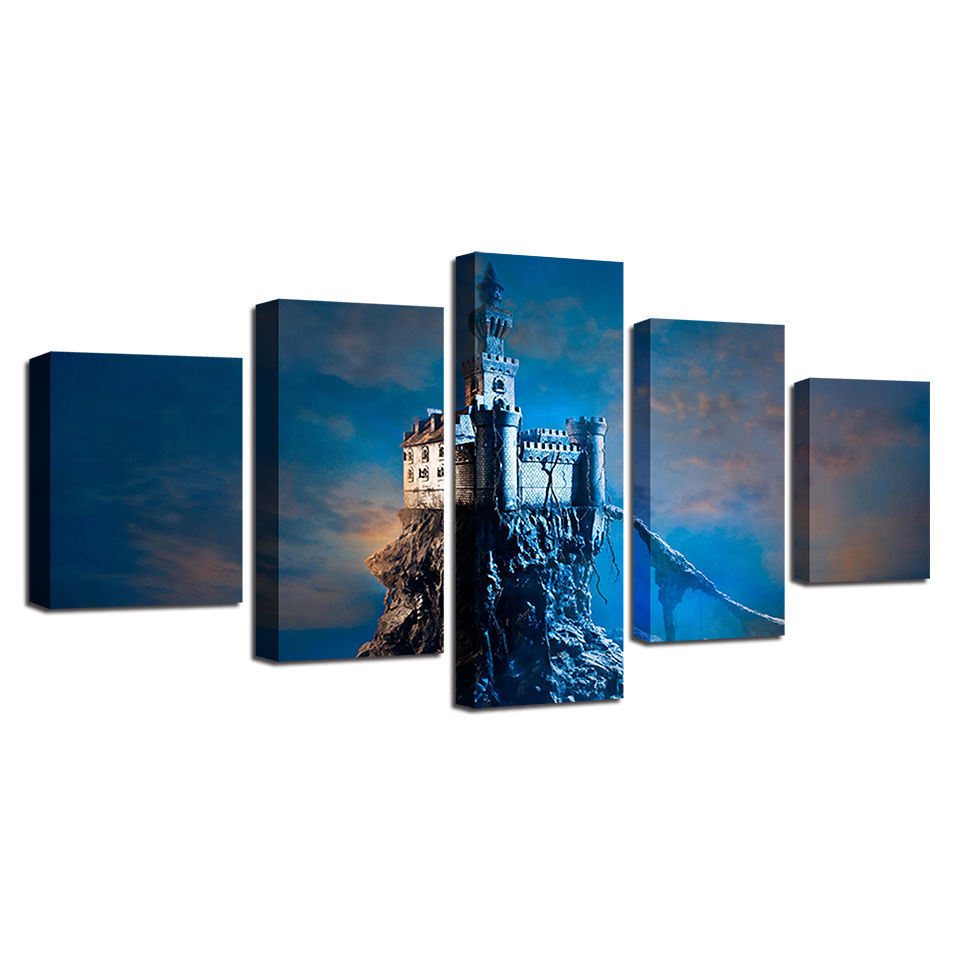 US $5 93 OFF Kanvas Lukisan Dinding Seni Bingkai 5 Pieces Menara Fantasi Duduk Di Atas Batu Gambar Pulau Modular Dicetak Castle Poster Rumah