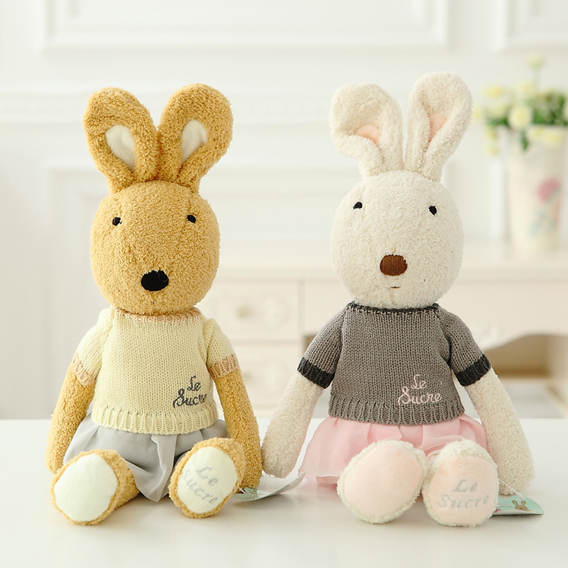 45cm Sweater bunny Le sucre Rabbit plush toys Kawaii Stuffed dolls high-quality kids toy gifts,clothes can be take off