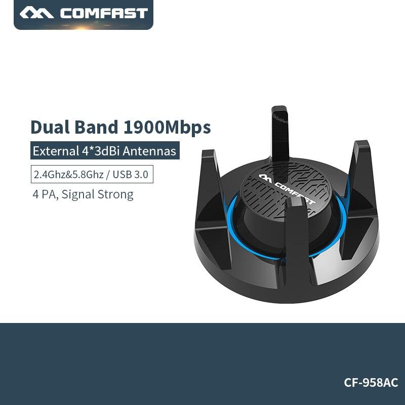 Carte réseau sans fil haute puissance 1900 méga Gigabit jeu USB 3.0 WiFi 2.4G et 5.8G adaptateur Dongle ordinateur 802.11a/g/n/ac