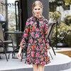 SVORYXIU 2018 Fashion Designer Dress Women Elegant Long Sleeves Floral Printed Party Mini Dress Ruffles Femme