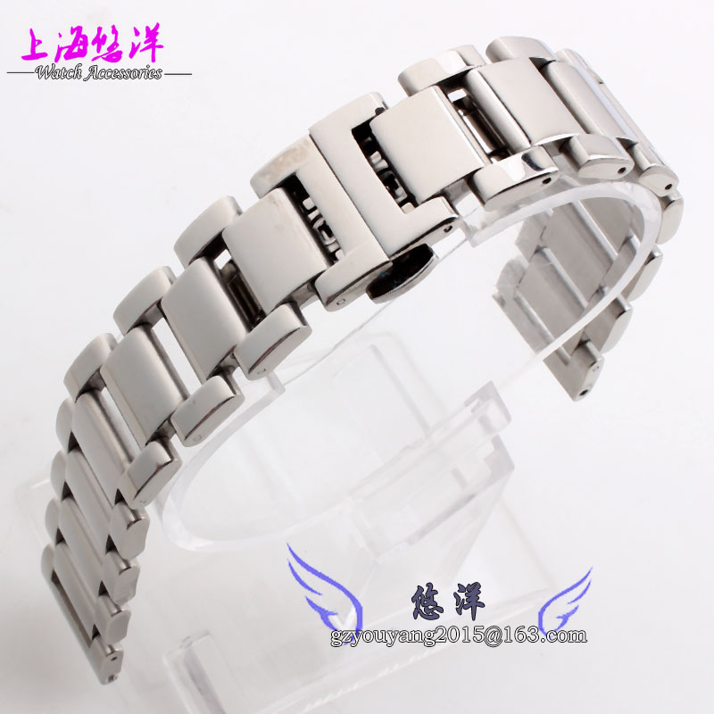 Stainless steel Watchband solid metal strap butterfly buckle 18mm 20mm 21mm 22mmsilver black width