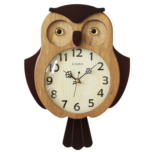 2018 New Wall Clock Fashion European Owl Wooden Watch Mute Saat Creative Living Room Study Time