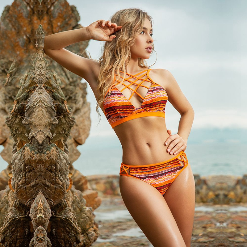 Women Sexy Retro Bikinis Front Criss Cross Push Up Swimwear Two Pieces Suits Bathing Suit For Summer Wear