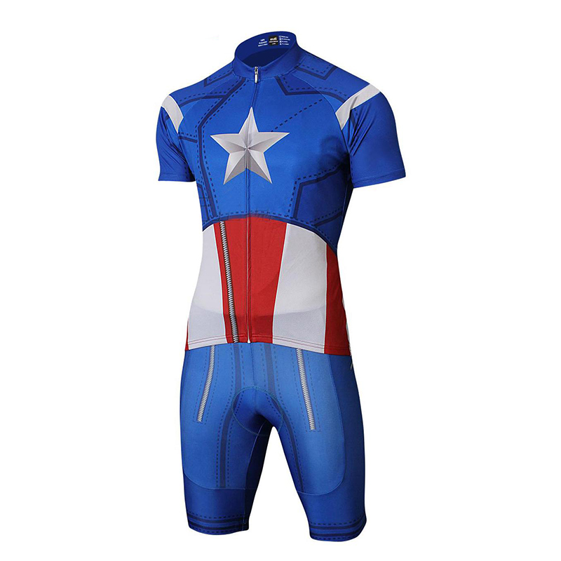 Prix pour Quick step cycling jersey marvel à manches courtes custom made Batman maillot Iron Man Spiderman Superman garçon vêtements ensembles