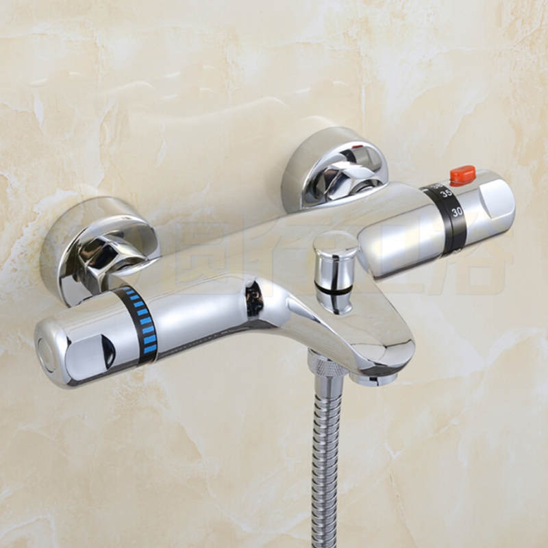 Chrome Brass Thermostatic Shower Valve Dual Handles Mixer Tub Spout Mixer Wall Mounted thermostatic valve mixer tap w hand shower tub spout tub faucet chrome finish