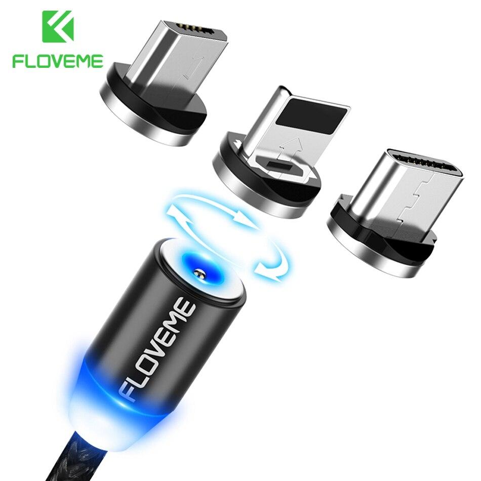 FLOVEME 3 en 1 Cable magnético para iPhone 8 X Micro USB tipo C Cable 2A carga rápida M 1 M imán Cables de teléfono para Samsung USB-C Cabo
