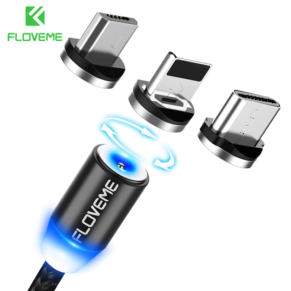 FLOVEME 3 in 1 Magnetic Cable For iPhone 8 X Micro USB Type C Cable 2A Fast Charge 1m Magnet Phone Cables For Samsung USB-C Cabo