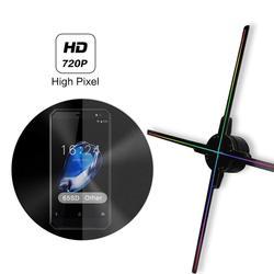 Aggiornamento 50 CENTIMETRI 4 fan ologramma luce ventilatore con controllo wifi 3D Ologramma Pubblicità Display A LED Fan Immagine Olografica per vacanza