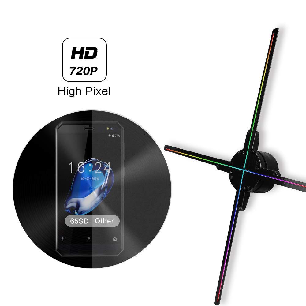 Mise à jour 50 CM 4 ventilateur hologramme ventilateur lumière avec contrôle wifi 3D hologramme publicité affichage ventilateur LED holographique imagerie pour les vacances