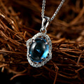 New arrival Luxury  charming  blue stone Crystal CZ  Necklace 925 Sterling Silver Jewelry  Pendant Necklace for Women