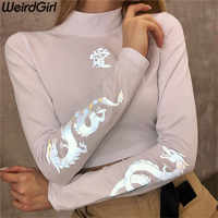 Weirdgirl Women dragon print T-shirts reflective fashion turtleneck Long Sleeve Slim Harajuku Female Tops New Arrivel 2019 Tees