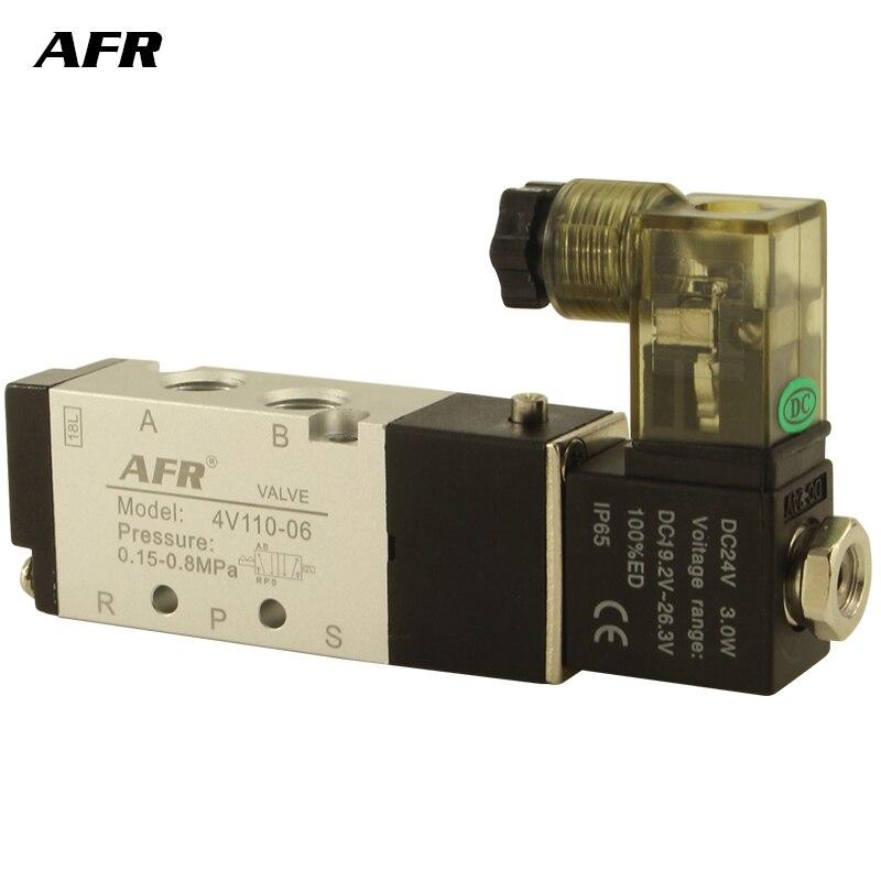 Air Solenoid Valve 5 Way Port 2 Position Gas Pneumatic Electric Magnetic 12V 24V 220V 4V110-06 port 1/8