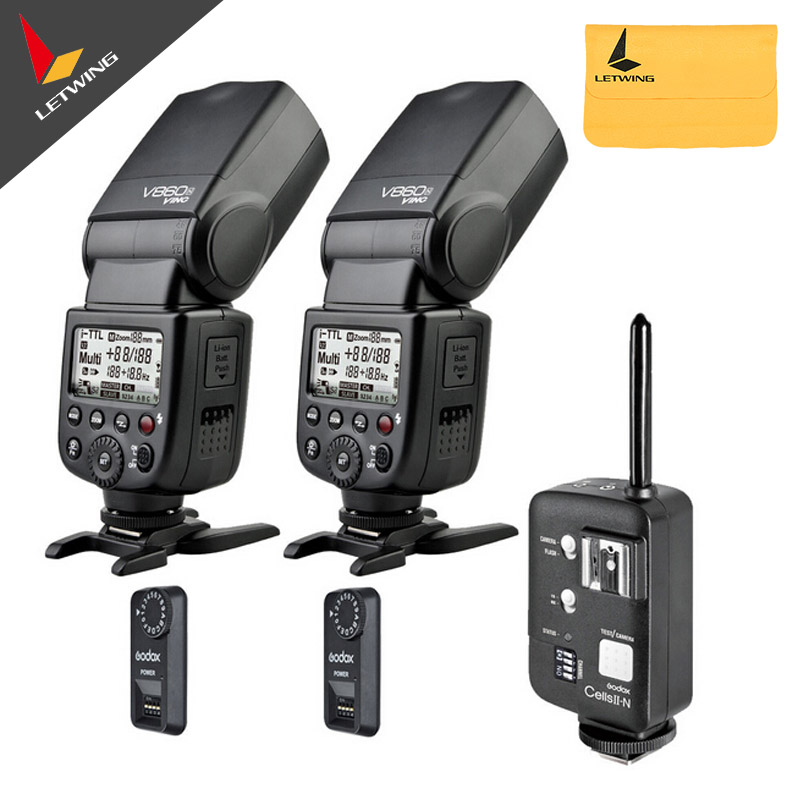 2*Godox V860N Wireless New Li-ion Battery Camera Flash Speedlite + Cells II Trigger for Nikon + 2*Receiver Studio Flash Kit godox v860n new li ion battery flash speedlite ft 16s flash trigger set cells ii wireless transceiver trigger for nikon
