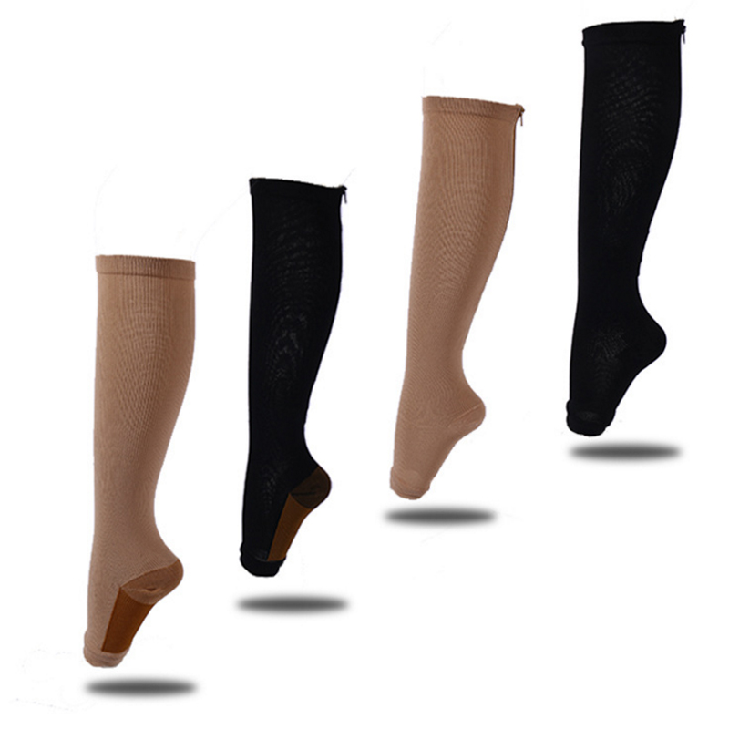 Men's Socks Lkwder 1 Pair Unisex Compression Socks Zipper Leg Support Knee Socks Women Men Open Toe Thin Anti-fatigue Stretchy Sox Socks Men