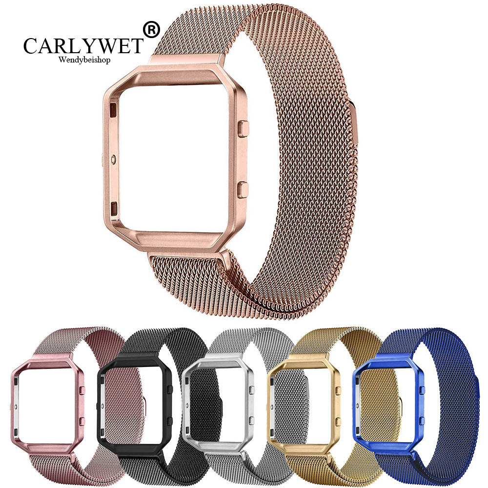 CARLYWET Mesh Milanese Stainless Steel Replacement Watch Strap Bracelet Magnetic Closure With Frame For Fitbit Blaze 23 Watch crested milanese loop strap metal frame for fitbit blaze stainless steel watch band magnetic lock bracelet wristwatch bracelet