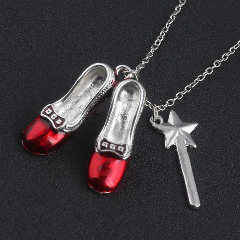 Дороти красный кулон шлёпки ожерелье волшебник унций ожерелье красная обувь волшебная палочка ожерелье s Подвески нечестивые ювелирные изделия