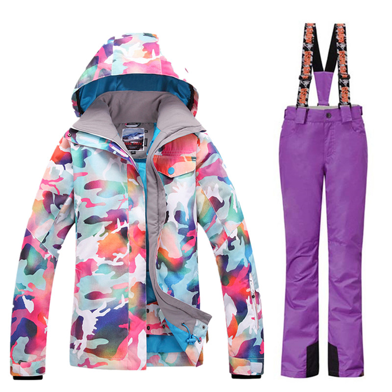 GSOU neige marque Ski costumes femmes veste de Ski + pantalon de ski ensembles de Camouflage hiver extérieur imperméable coupe vent garder au chaud veste de neige - 6