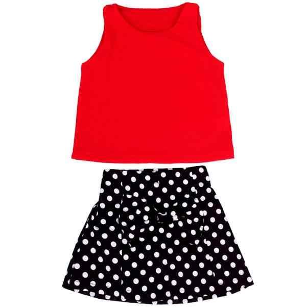 קיץ 2020 תינוק בנות בגדי סט תינוק בנות מוצק ללא שרוולים אפוד קפלים דוט חצאית סטים לפעוטות ילדים אביב בגדי חליפות