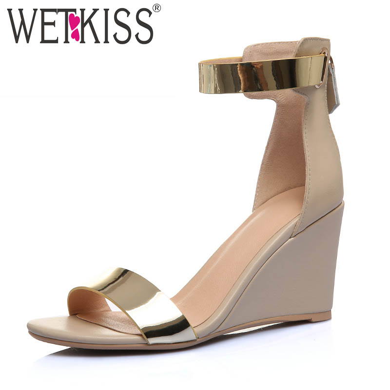 WETKISS Ankle Strap Sandals Women Open Toe Metal Decoration Footwear Leather Shoes Female High Heels Wedges Shoes Woman SummerWETKISS Ankle Strap Sandals Women Open Toe Metal Decoration Footwear Leather Shoes Female High Heels Wedges Shoes Woman Summer