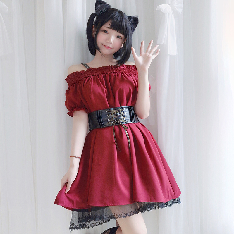 Kadın Giyim'ten Elbiseler'de 2019 Gotik Lolita Kadın Elbise Yaz Puf Kollu Kapalı Omuz Bel Korse PU Kemer Dantel Ruffles Tatlı Kırmızı Elbiseler Vestido femme'da  Grup 1